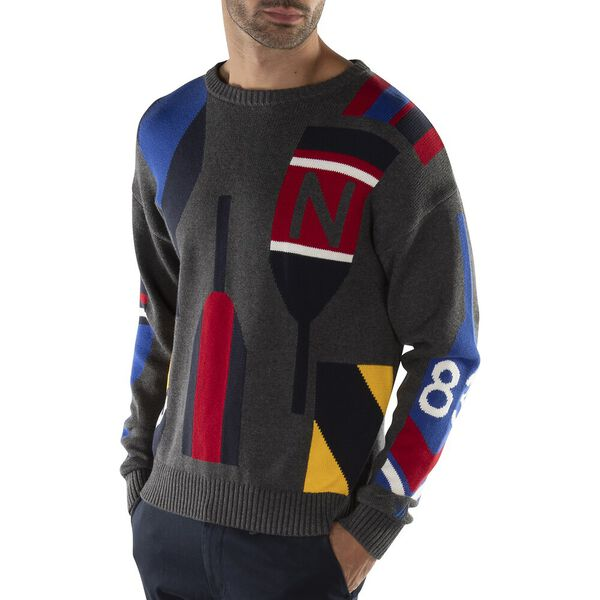 Paddle Intarsia Knit Crew, Charcoal Heather, hi-res