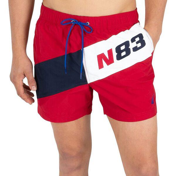 """Diagonal N83 6"""" Swim Shorts, Nautica Red, hi-res"""