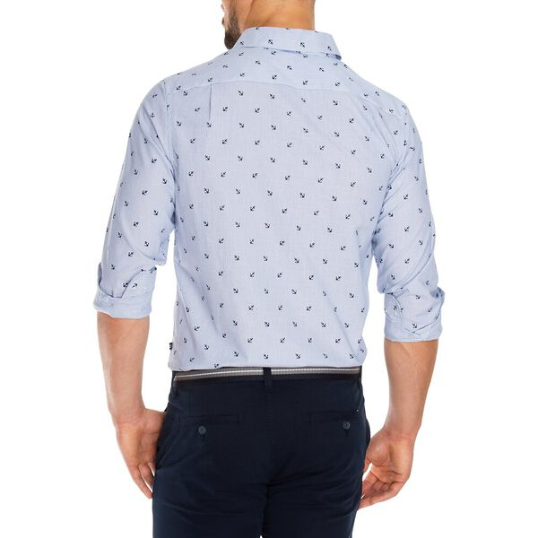 Long Sleeve Oxford Print Shirt, Windsurf Blue, hi-res