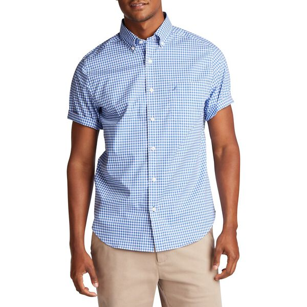 Classic Fit Wrinkle-Resistant Short Sleeve Gingham Shirt, French Blue, hi-res