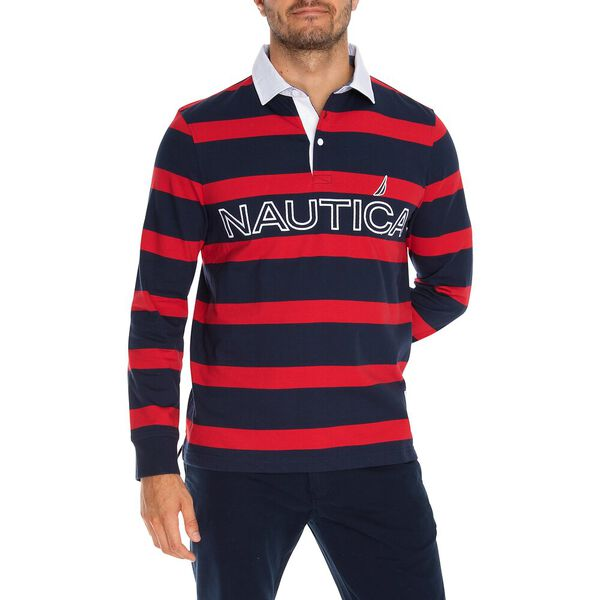 Nautica Essential Stripe Long Sleeve Rugby Polo, Navy, hi-res