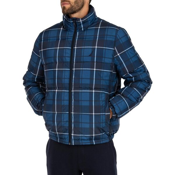 Tempasphere Plaid Bomber Puffer Jacket, Navy, hi-res