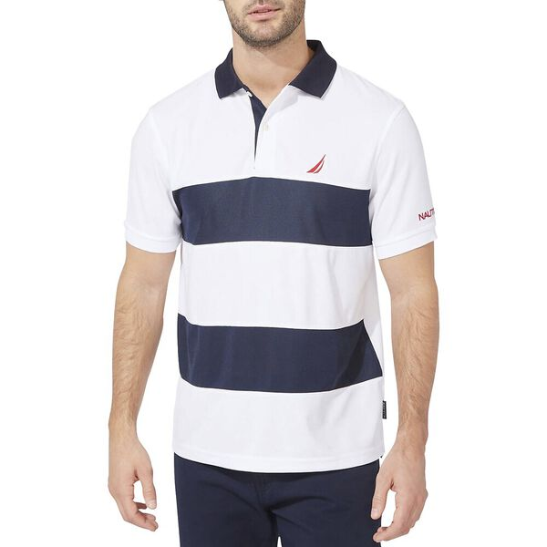 Navtech Classic Fit Rugby Stripe Polo, Bright White, hi-res