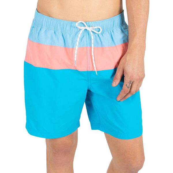 "Block Banded 8"" Swim Shorts, Alaskan Blue, hi-res"