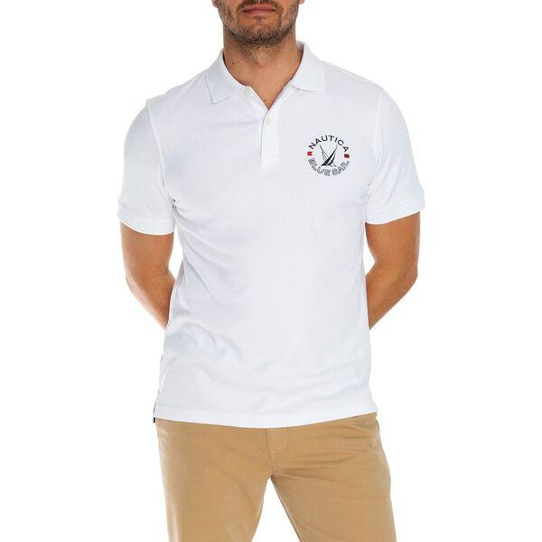Blue Sail Solid Logo Polo, Bright White, hi-res