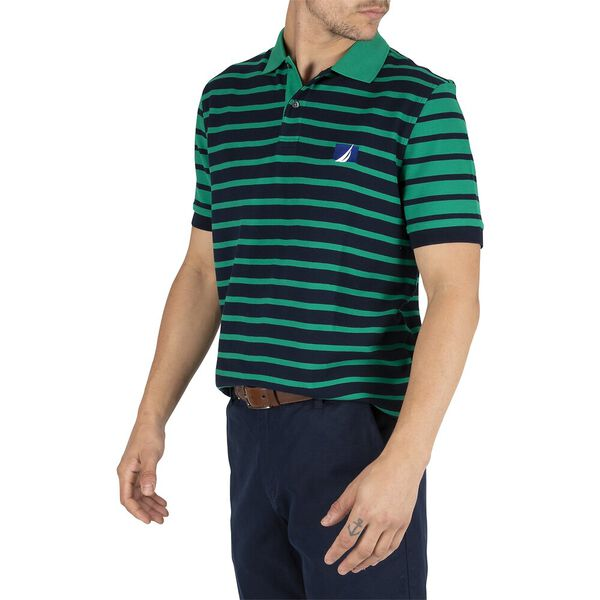 Sustainably Crafted Navtech Classic Stripe Polo, Navy, hi-res