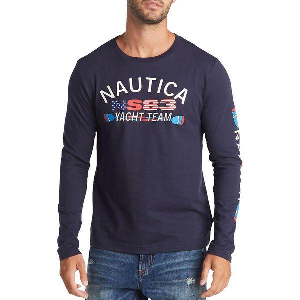 Big & Tall Long Sleeve Yacht Team T-Shirt, Navy, hi-res