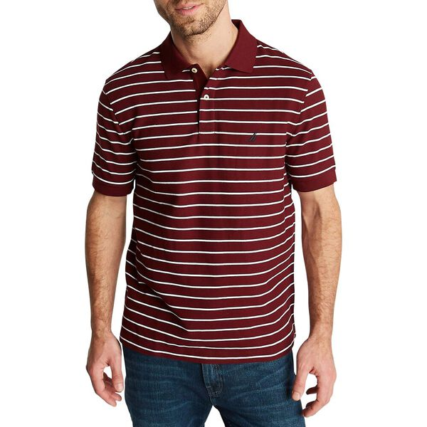 Striped Classic Fit Deck Polo, Royal Burgundy, hi-res