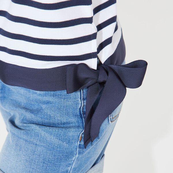 Stripe Tie Waist Sophia Knit Top, Bright White, hi-res