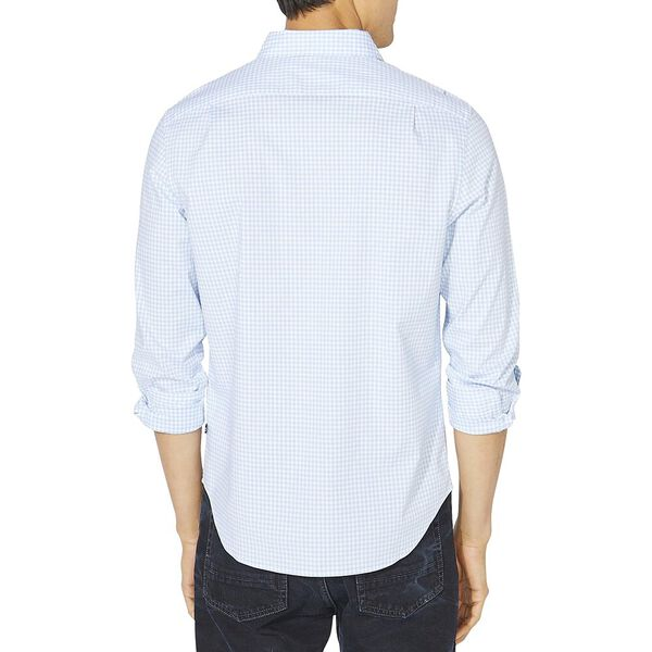 Classic Fit Gingham Long Sleeve Shirt, Azure Blie, hi-res