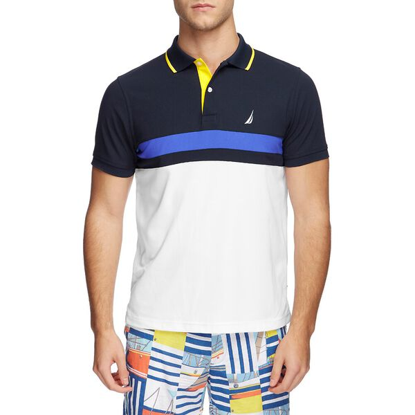 NAVTECH UNDERSTATED STRIPE BLOCK POLO