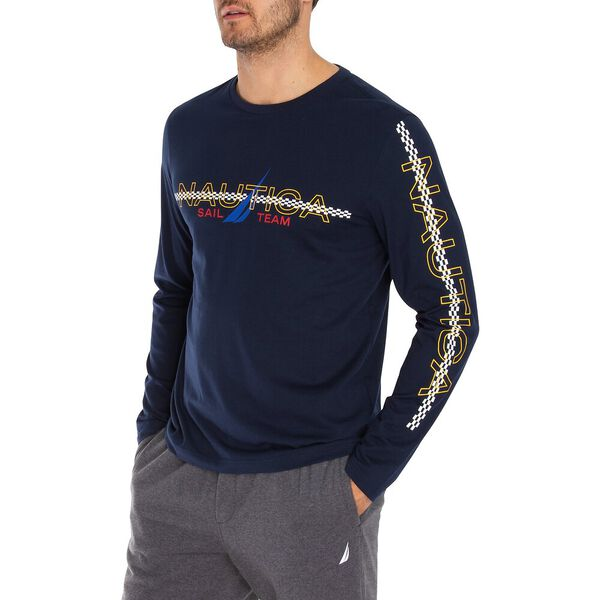 Nautica Sail Team Long Sleeve Tee, Navy, hi-res