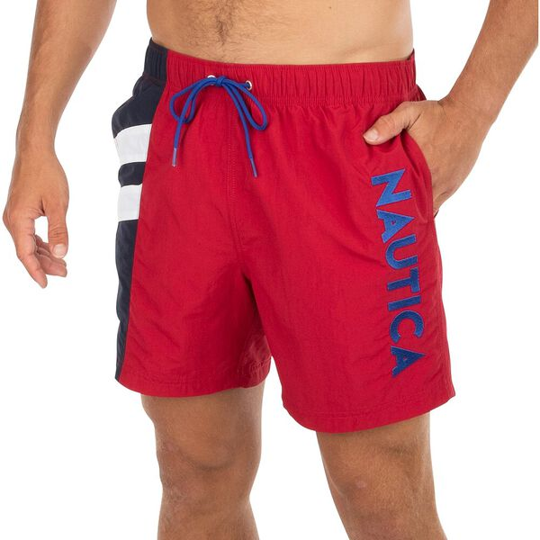 Nautica Your Stripe Swim Shorts, Nautica Red, hi-res