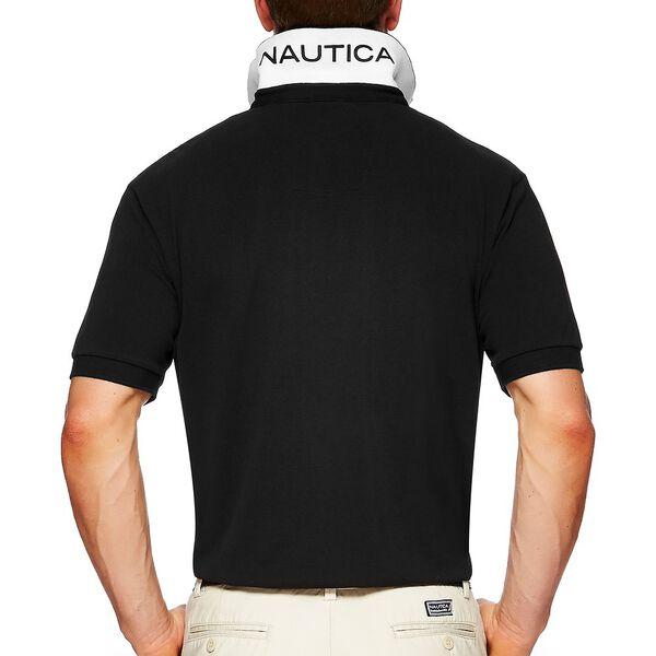 Short Sleeve Solid Polo, TRUE BLACK, hi-res