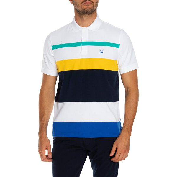 COLOURBLOCK STRIPE POLO, BRIGHT WHITE, hi-res