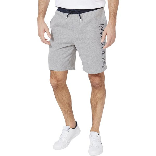 Nautica Logo Fleece Track Shorts, Stone Grey Heather, hi-res