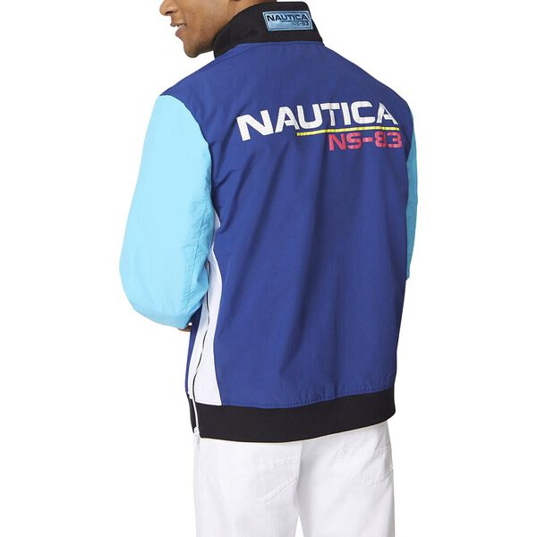 Lightweight Ns-83 Retro Colourblock Windbreaker Jacket, Estate Blue, hi-res