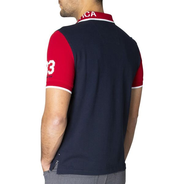 Slim Fit Pop Your Collar Contrast Polo, Navy, hi-res