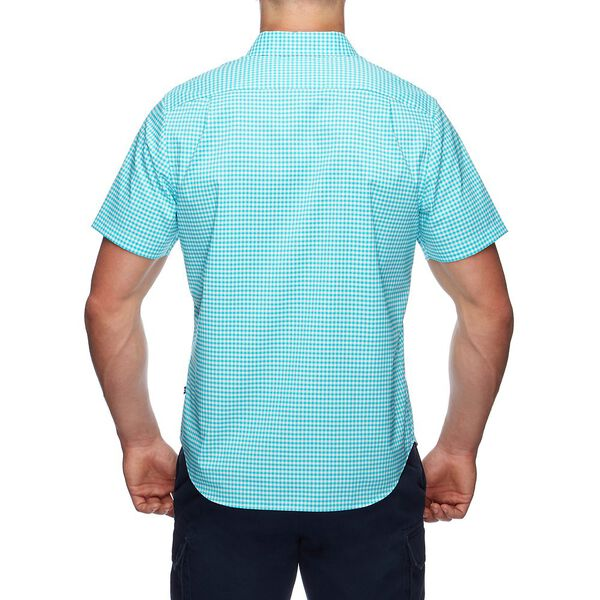 Short Sleeve Plaid Shirt, Peacock Blue, hi-res