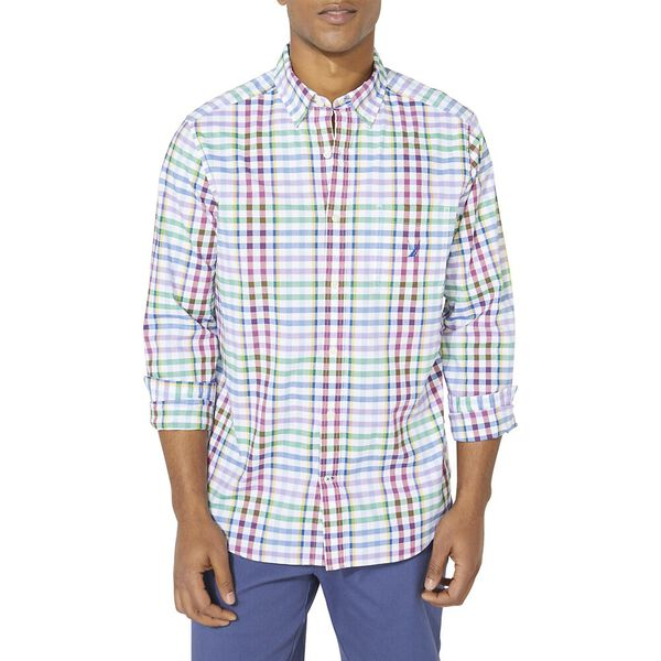 Classic Fit Stripe Plaid Spring Splice Poplin Shirt, Bright White, hi-res