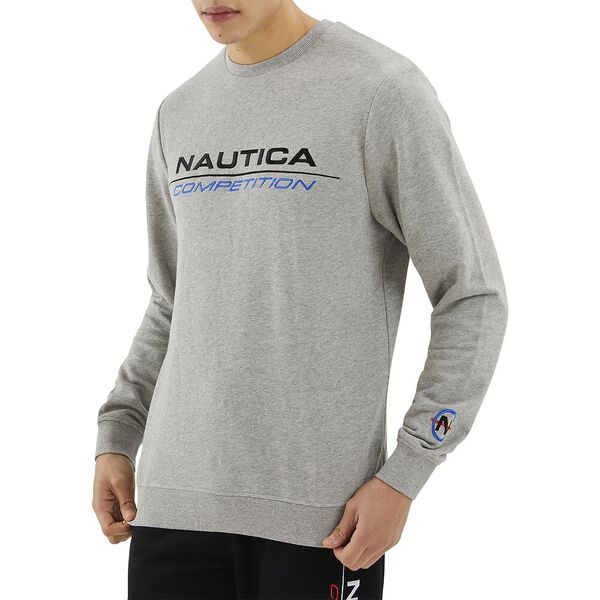 Nautica Competition Collier Sweater, Grey Heather, hi-res