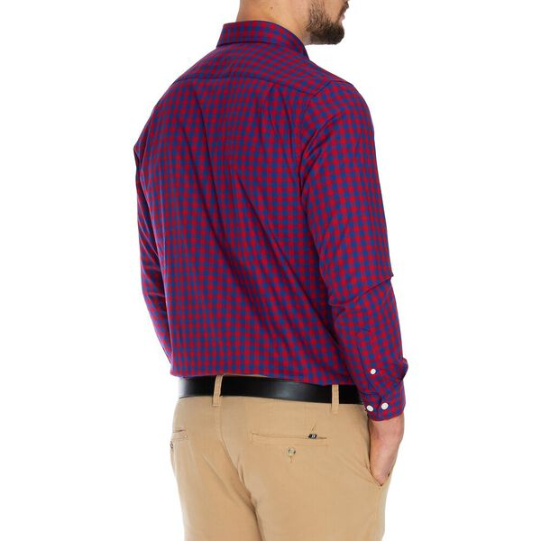 Gingham Wrinkle Resistant Shirt, Nautica Red, hi-res