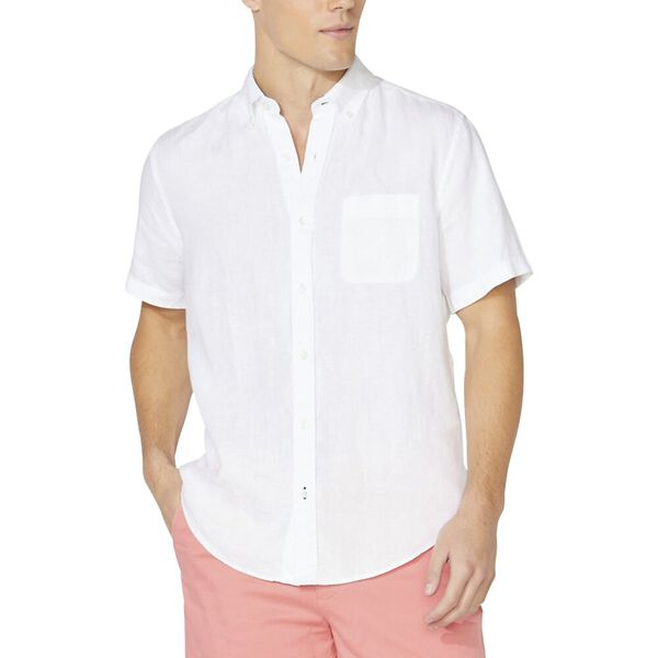 Classic Fit Short Sleeve Linen Shirt, Bright White, hi-res