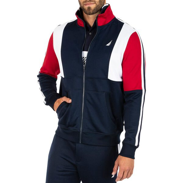 Nautica Retro Shine Blocked Full Zip Sweater, Navy, hi-res
