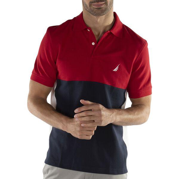 Half Block Colour Polo, Nautica Red, hi-res