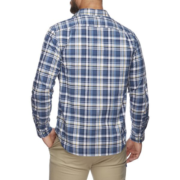 MIXED LAYER PLAID LONG SLEEVE  SHIRT, ENSIGN BLUE, hi-res