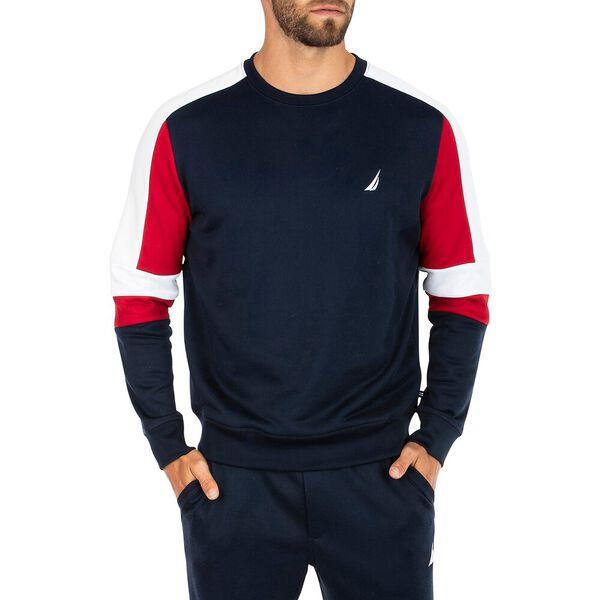 Nautica Retro Shine Blocked Sweater, Navy, hi-res