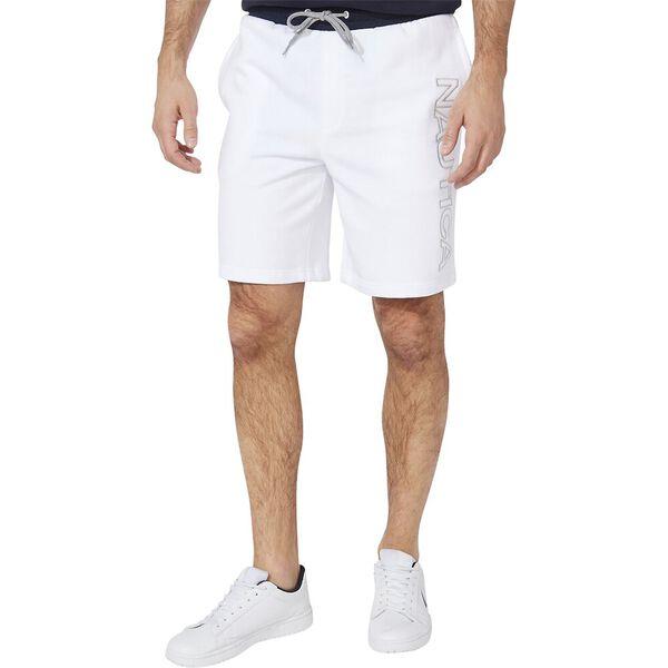 Nautica Logo Fleece Track Shorts, Bright White, hi-res