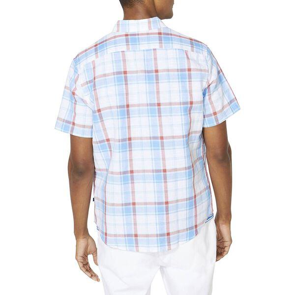 Classic Fit Blue Sail Linen Blend Plaid Short Sleeve Shirt, Aqua, hi-res