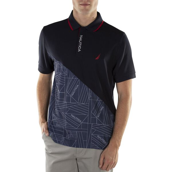 CLASSIC FIT NAVTECH PRINT POLO, NAVY, hi-res