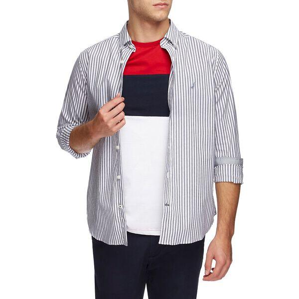 Wrinkle Resistant Pyjama Stripe Long Sleeve Shirt, Just Navy, hi-res