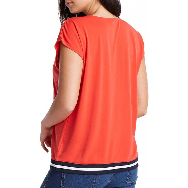 JERSEY CREPE BLOUSE, FIREY RED, hi-res