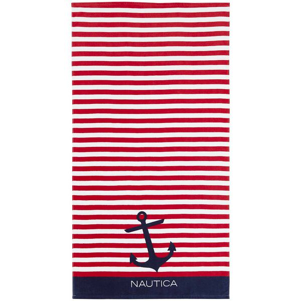 Bayside Printed Beach Towel Americana, Red/White/Blue, hi-res
