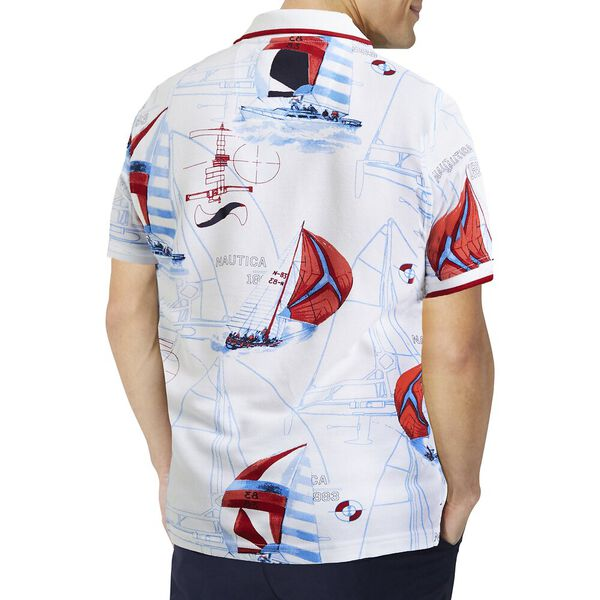 Sail Print Pique Polo, Bright White, hi-res