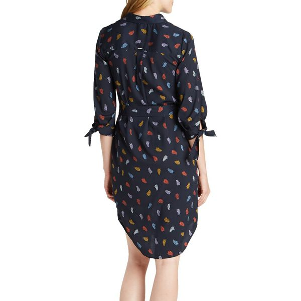 Autumnal Leaf Button Up Dress, Navy Seas, hi-res