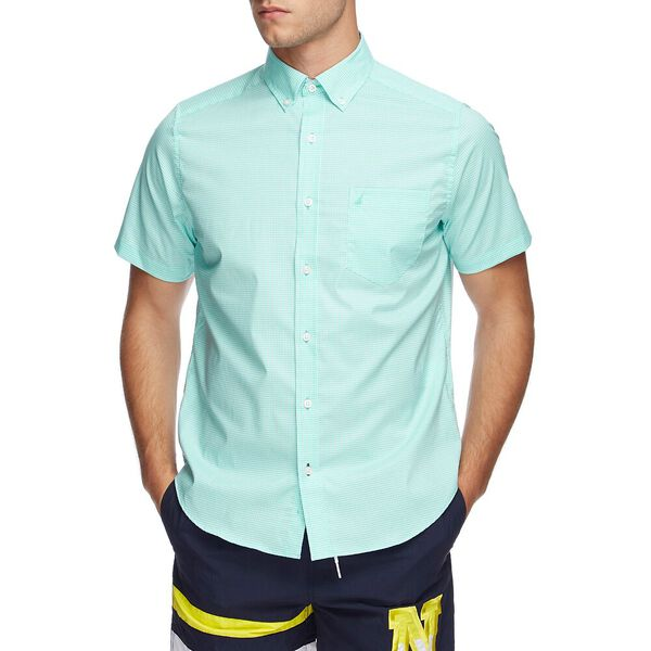 WRINKLE RESISTANT SHORT SLEEVE CLASSIC FIT SHIRT IN GINGHAM, BALI BLISS, hi-res