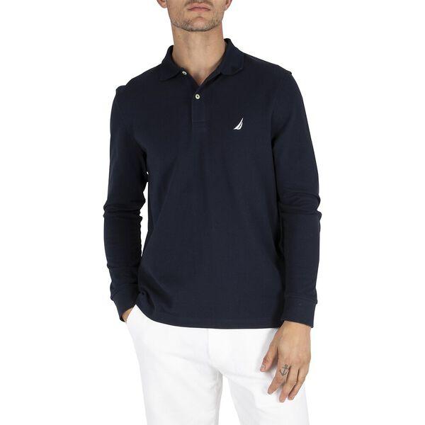 Long Sleeve Deck Polo, Navy, hi-res