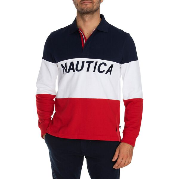 Tricoloured Long-Sleeve Rugby Shirt, Navy, hi-res