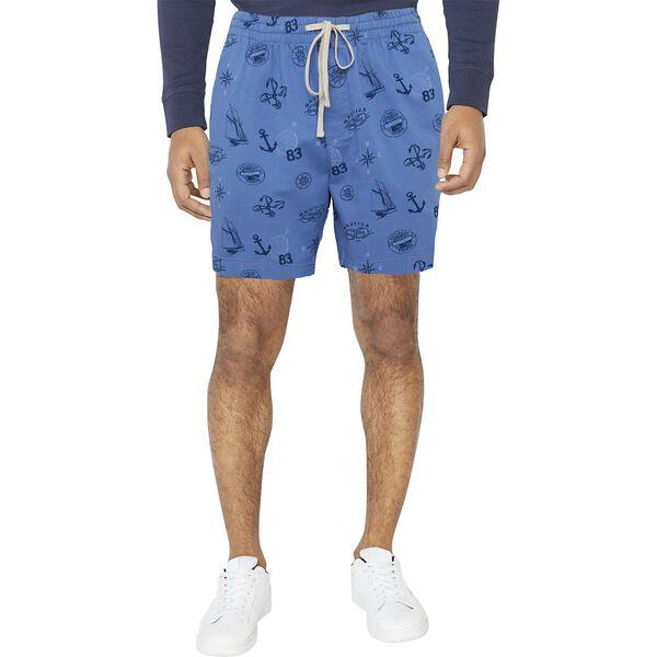 """17"""" Nautica Print Boardwalk Short, Riviera Blue, hi-res"""