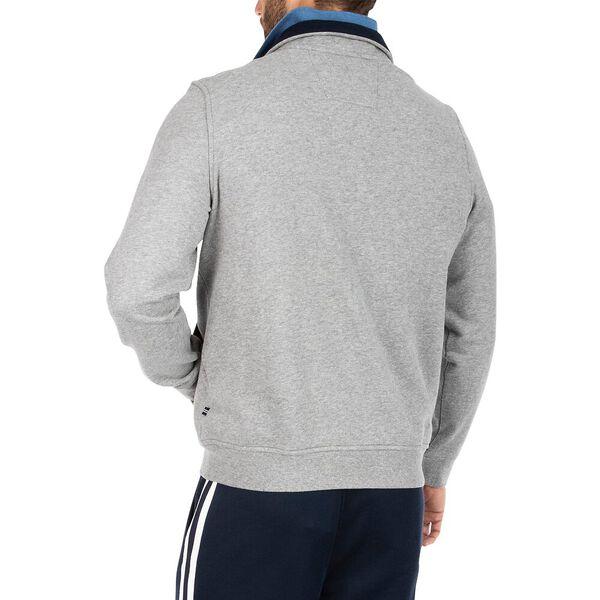 Contrast Collar Quarter Zip Fleece Sweater, Grey Heather, hi-res