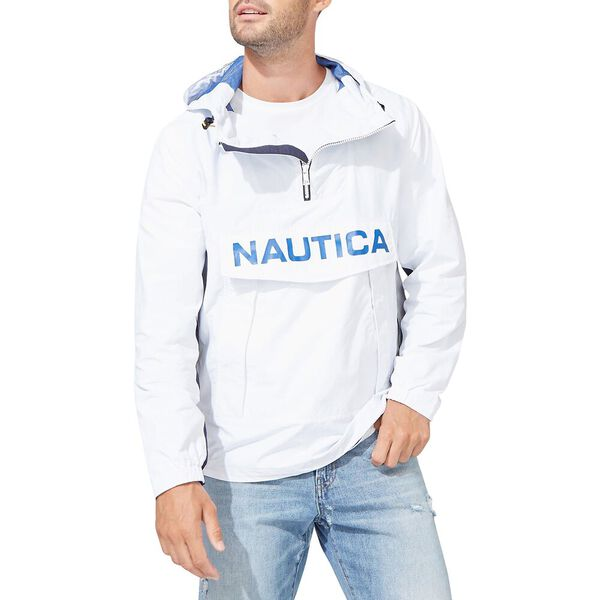 Nautica Colour-blocked Bomber Style Hooded Pullover, Bright White, hi-res