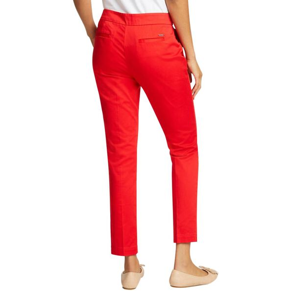 ANKLE LENGTH PANT WITH SNAP TAB WAISTBAND, BRIGHT RED, hi-res