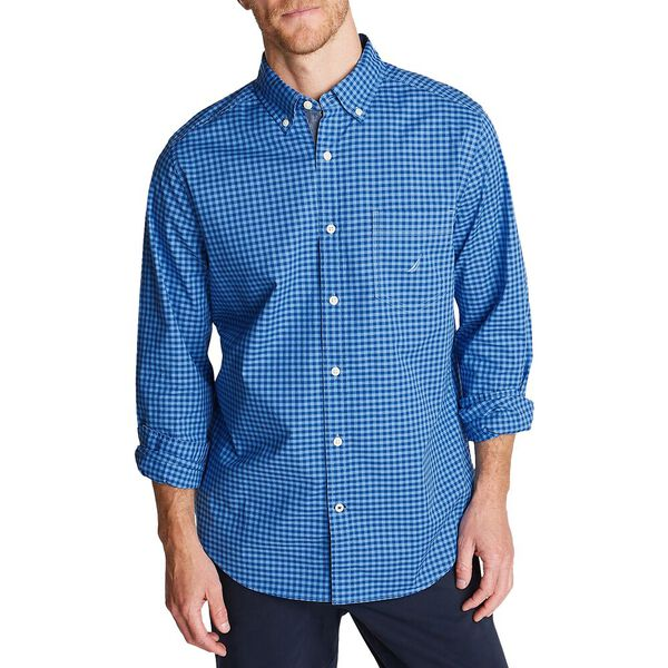 Classic Fit Poplin Shirt In Gingham, Light French Blue, hi-res