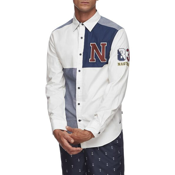 NAVIGATE FASHION BLOCK LONG SLEEVE SHIRT, SAIL WHITE, hi-res