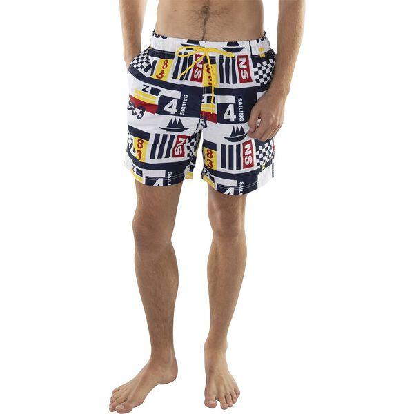 "7"" Bluesail Heritage Print Quick-Dry Swim Short, Bright White, hi-res"