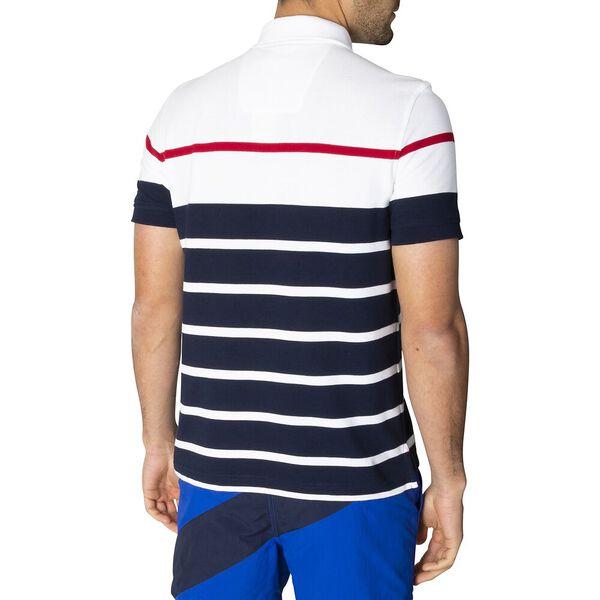 Classic Fit Marine Stripe Polo, Bright White, hi-res